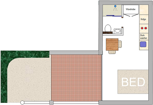 This drawing shows the layout of apartment 170, and the terrace.